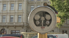 Coin operated weighing scale in Vienna Stock Footage