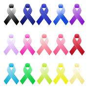 Basic shaded awareness ribbons - stock illustration