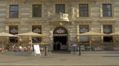T.G.I. Fridays - an american restaurant on Schubertring street in Vienna Stock Footage
