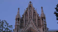 Votive Church with sculptural details in Vienna Stock Footage