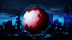 News / Corporate Background - Planet Earth & LED Lights Red Stock Footage