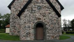 Exterior of the medieval Stiklestad church in Stiklestad, Norway. Stock Footage