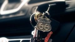 Keys & Route 66 Key Ring in Ignition Stock Footage