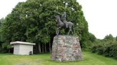 Equestrian statue of the King Olaf II of Norway in Stiklestad, Norway. Stock Footage