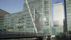 London Docklands, suspension bridge by some high rise office buildings. - stock footage
