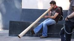 Stunning Didgeridoo sound, performer plays Stock Footage