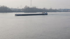Cargo ship on River Rhine Stock Footage