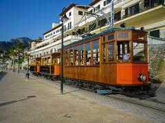PORT DE SOLLER, SPAIN, June 30, 2015: Tramway connecting town to Soller opene Stock Photos