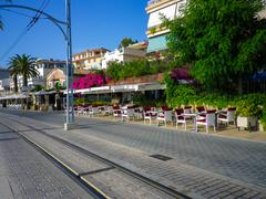 Stock Photo of PORT DE SOLLER, SPAIN, June 30, 2015: Tramway connecting town to Soller opene
