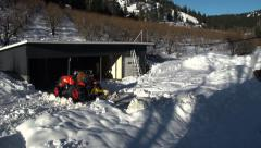 Time Lapse: Plowing Snow Off Driveway With Shadows, Ramped Time Lapse Stock Footage