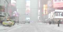 Man Exercising in Snow Blizzard in Manhattan New York 4K Stock Video Stock Footage