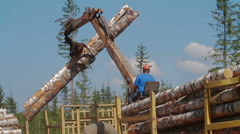 Logging Truck at Lumber Mill loaded with trees - stock footage