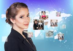Collage of human professions on the big map. - stock photo