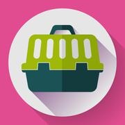Pet dog travel cage flat icon with long shadow - stock illustration