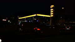 JET Gas station, night shot Stock Footage