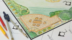 Landscape architect design garden plan Stock Footage