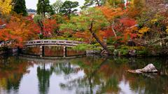Autumn garden at Eikando temple, Kyoto - stock photo
