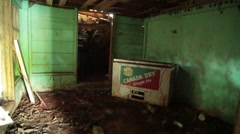 Room in an abandoned house filled with bats - stock footage