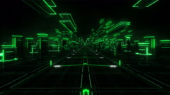 Flying over a magic world, green lights. Futuristic abstract background. - stock footage