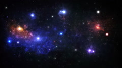 Stock Video Footage of Colorful space background, glowing galaxies and stars passing by. Loopable.