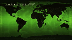 World map with US statistics. Green. Loopable. Stock Footage