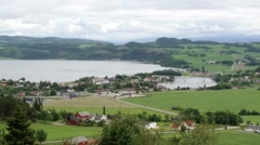 View to the rural landscape and Sorfolda fjord in Straumen, Norway. - stock footage