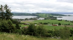 View to the rural landscape and Sorfolda fjord in Straumen, Norway. Stock Footage