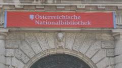Osterreichische Nationalbibliothek name sign in Vienna Stock Footage