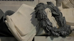Sculpted laurel wreath at Mozart monument in Vienna Stock Footage