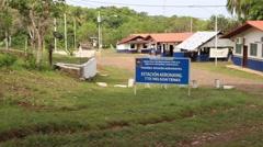 Right pan of the Aeronaval station in Panama City, Panama - stock footage