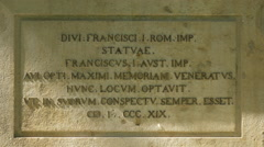 Inscription on the equestrian statue of Emperor Franz I, Vienna Stock Footage