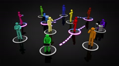 Animation representing the social network concept. Multicolored. Loopable. - stock footage