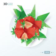 red strawberries on dish - stock illustration