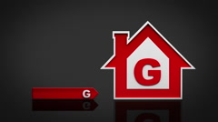 Energy efficiency rating chart. From red (G) to green (A). Alpha matte. - stock footage