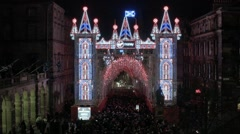 The 'Virgin' Christmas light display on the Royal Mile, Edinburgh - stock footage