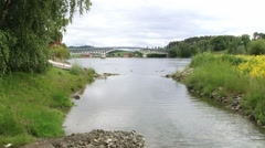 View to the bridge over the Sorfolda fjord in Straumen, Norway. Stock Footage