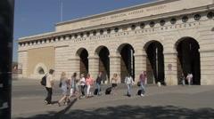 Tourists walking near Aussere Burgtor in Vienna Stock Footage
