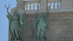 Two statues on Neue Burg in Vienna Stock Footage