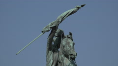 Close up view of the equestrian statue of Archduke Karl in Vienna Stock Footage