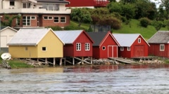 View to the village at the bank of the Sorfolda fjord in Straumen, Norway. Stock Footage