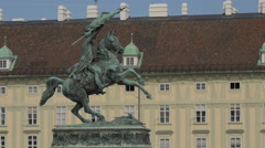 Equestrian statue of Archduke Charles of Austria, Vienna Stock Footage