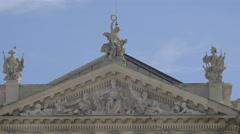 Statues and bas-reliefs on Neue Burg in Vienna Stock Footage