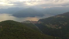 Aerial shot of lake maggiore with mountains in Italy Stock Footage