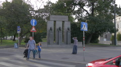 Man taking pictures of the Establishment of the Republic Memorial in Vienna Stock Footage