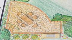 Landscape architect design garden plan Stock Footage