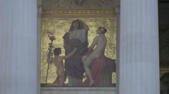 Mural painting on the facade of Austrian Parliament Building, Vienna Stock Footage