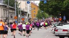 Marathon runners in city, Paavo Nurmi marathon Stock Footage