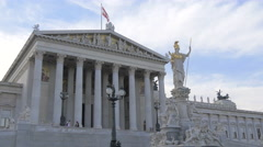 Pallas Athene Fountain and Austrian Parliament Building in Vienna Stock Footage