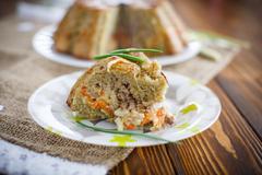 Potato casserole with vegetables inside Stock Photos
