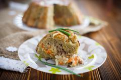 potato casserole with vegetables inside - stock photo